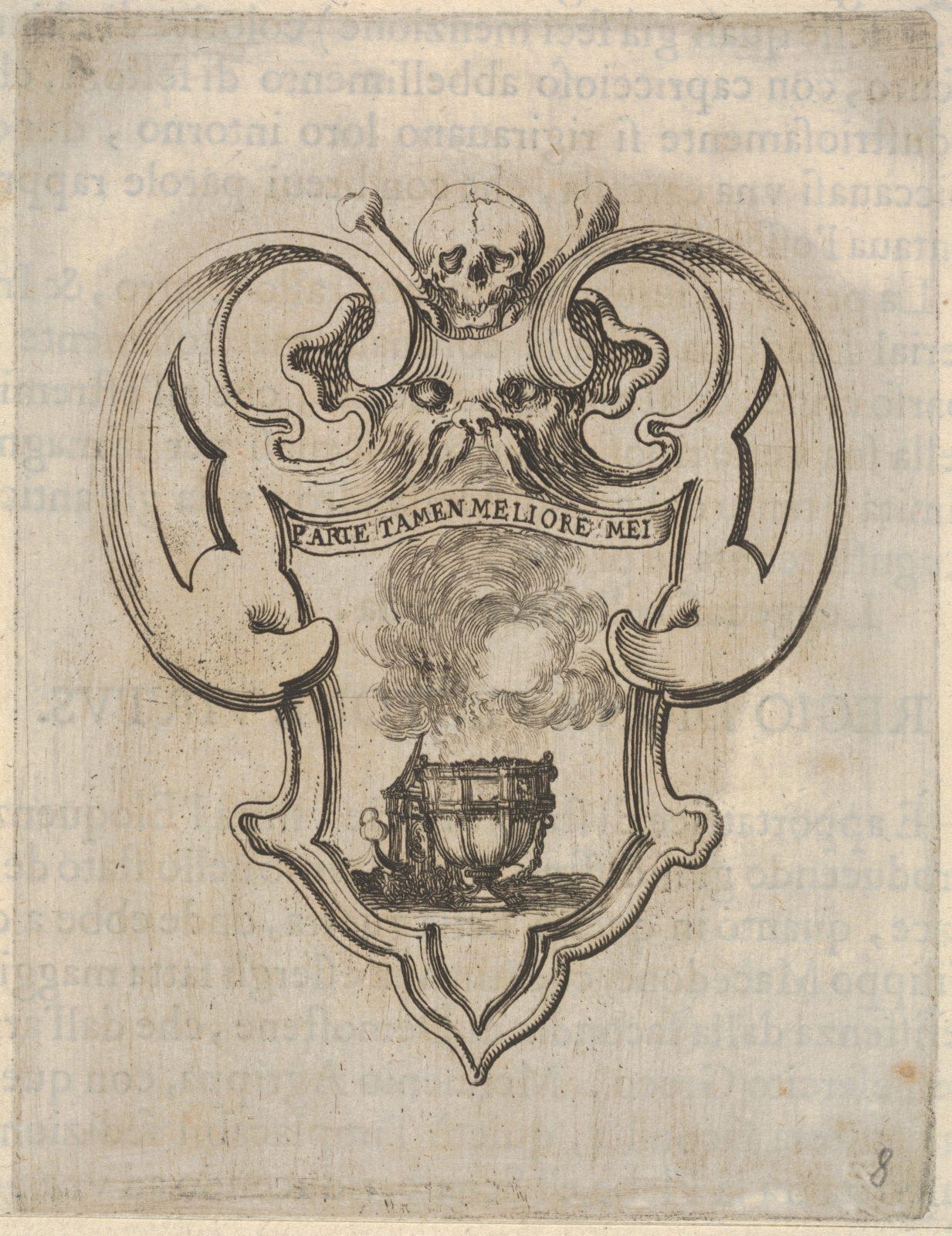 A cartouche with a censer, a skull and crossbones and a grotesque face at top, from 'Eight Emblems for the Funeral of Francesco de Medici' (Huit emblèmes pour les funérailles du prince François de Médicis)
