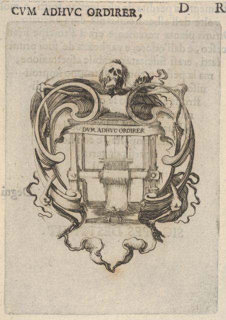 A cartouche with a loom, a skull at top, bones to either side, from 'Eight Emblems for the Funeral of Francesco de Medici' (Huit emblèmes pour les funérailles du prince François de Médicis)