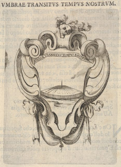 A cartouche with a sundial, a skull with feathers on its head at top, from 'Eight Emblems for the Funeral of Francesco de Medici' (Huit emblèmes pour les funérailles du prince François de Médicis)