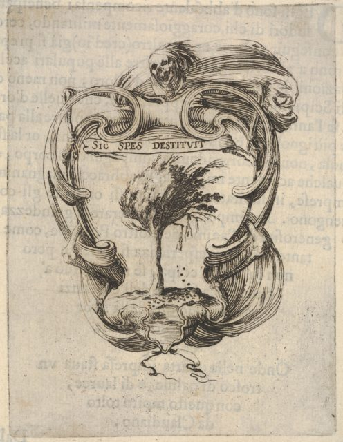 A cartouche with a tree blowing in the wind, a skull with drapery at top, bones to either side, from 'Eight Emblems for the Funeral of Francesco de Medici' (Huit emblèmes pour les funérailles du prince François de Médicis)