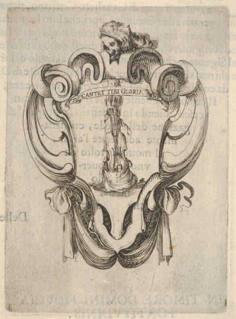 A cartouche with a violin coming out of its case, a skull with a helmet with feathers at top, from 'Eight Emblems for the Funeral of Francesco de Medici' (Huit emblèmes pour les funérailles du prince François de Médicis)