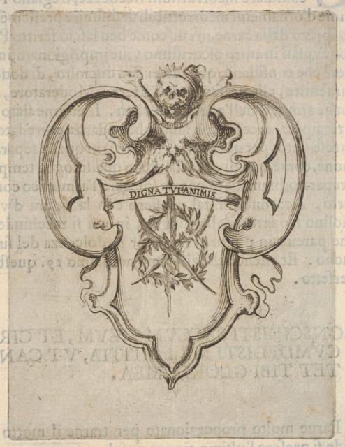 A cartouche with a wreath of laurel and palms, a skull and crossbones at top, from 'Eight Emblems for the Funeral of Francesco de Medici' (Huit emblèmes pour les funérailles du prince François de Médicis)