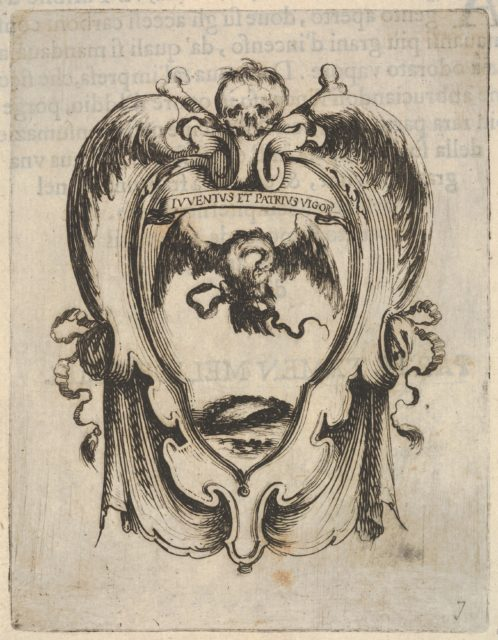 A cartouche with an eagle and a snake, a skull and crossbones at top, wings to either side, from 'Eight Emblems for the Funeral of Francesco de Medici' (Huit emblèmes pour les funérailles du prince François de Médicis)