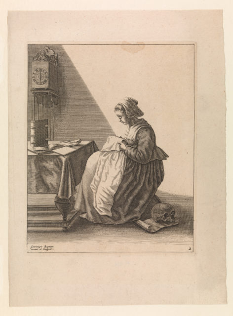 A Young Woman Ruffling, Plate 2 from Five Feminine Occupations