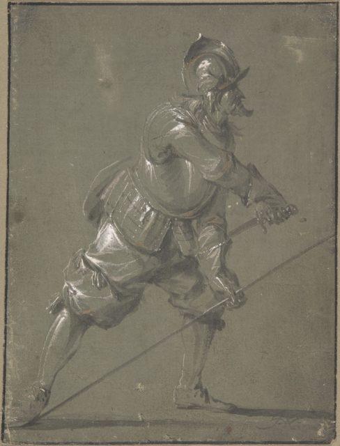 An Infantryman Drawing his Sword