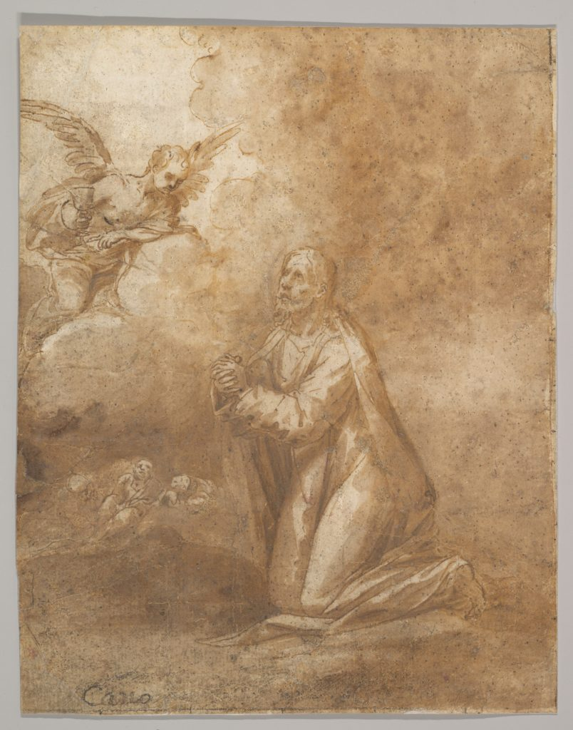 Christ on the Mount of Olives (recto); Study of a Cypress (verso)