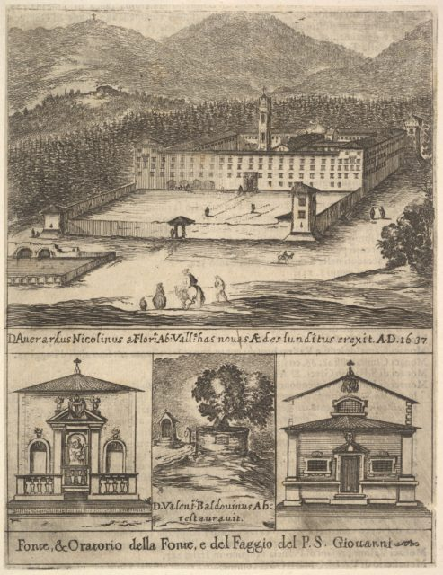 Four views: at top, a view of the new monastery of Vallombrosa, at bottom left and right, a view of a chapel, at bottom center, the tree of St. John Gualbert, from 'Frontispiece and four scenes from the life of Saint John Gualbert' (Frontispice et quatre vignettes pour une vie de Saint Jean Gualbert)