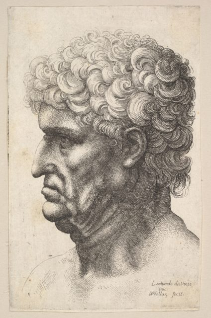 Head of a man with thick curly hair in profile to the left