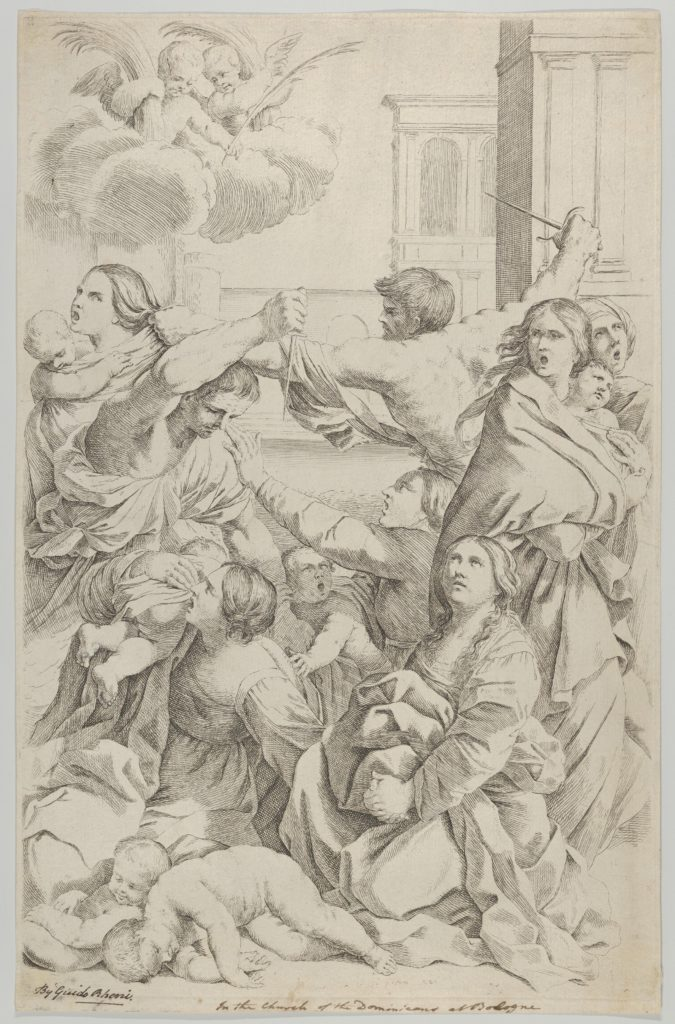 Massacre of the Innocents; group of women and children being attacked, two angels at upper left, after Reni
