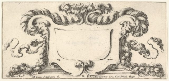 Plate 11: a cartouche with fruits, flowers, and leaves at top, a mask of a faun in profile to either side with a festoon of fruits and flowers in each of their mouths, from 'Twelve cartouches' (Recueil de douze cartouches)