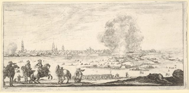 Plate 11: an attack on a city, horsemen in foreground, clouds of smoke and a cityscape in background, from 'Troops, cannons, and attacks on towns' (Dessins de quelques conduites de troupes, canons, et ataques de villes)