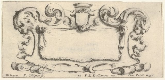 Plate 12: a cartouche with an empty escutcheon at top center, a head of a lion in profile to either side, from 'Twelve cartouches' (Recueil de douze cartouches)