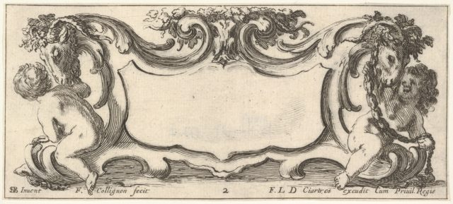 Plate 2: a cartouche with a child seen from the back to left and a child seen from the front to right, each playing with the head of a sheep crowned with flowers, from 'Twelve cartouches' (Recueil de douze cartouches)
