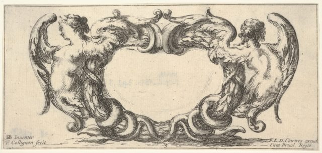 Plate 3: a cartouche with a woman with wings ending in a serpent's tail to left, seen from the front, a similar woman seen from the back to right, from 'Twelve cartouches' (Recueil de douze cartouches)