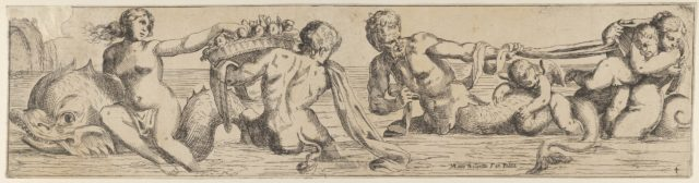 Plate 4: marine gods and other cavorting figures