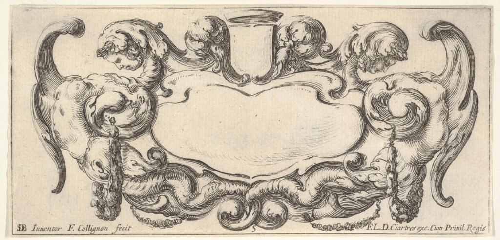 Plate 5: a cartouche with a blank escutcheon at top center, a chimera to either side, their bodies ending in scrollwork and dragon tails, from 'Twelve cartouches' (Recueil de douze cartouches)
