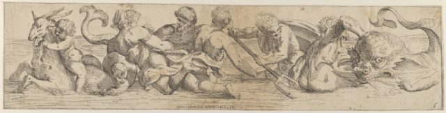 Plate 6: marine gods and other cavorting figures