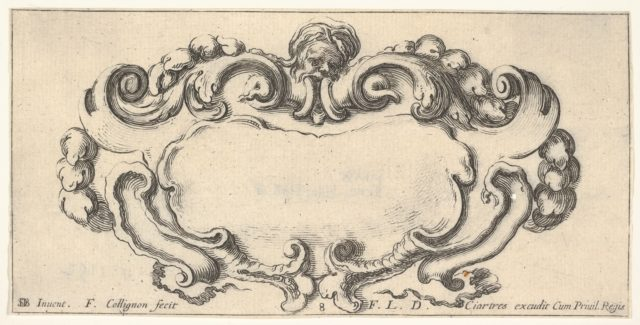 Plate 8: a cartouche with the head of an old man at top center, scrollwork to either side, from 'Twelve cartouches' (Recueil de douze cartouches)