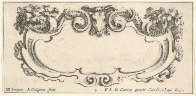 Plate 9: a cartouche with the head of a ram at top center, flowers at top left and right, from 'Twelve cartouches' (Recueil de douze cartouches)