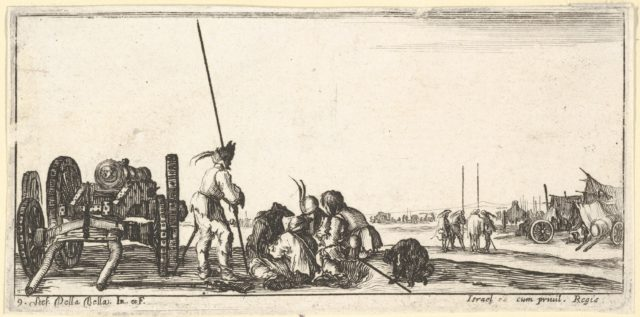 Plate 9: a chariot carrying a cannon to left, soldiers in center playing cards, from 'Troops, cannons, and attacks on towns' (Dessins de quelques conduites de troupes, canons, et ataques de villes)