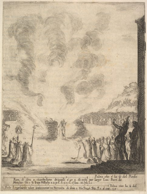 The test of fire, the monk Peter, the disciple Saint John Gualbert, passing through the flames from two pyres unharmed, various spectators to either side, from 'Frontispiece and four scenes from the life of Saint John Gualbert' (Frontispice et quatre vignettes pour une vie de Saint Jean Gualbert)
