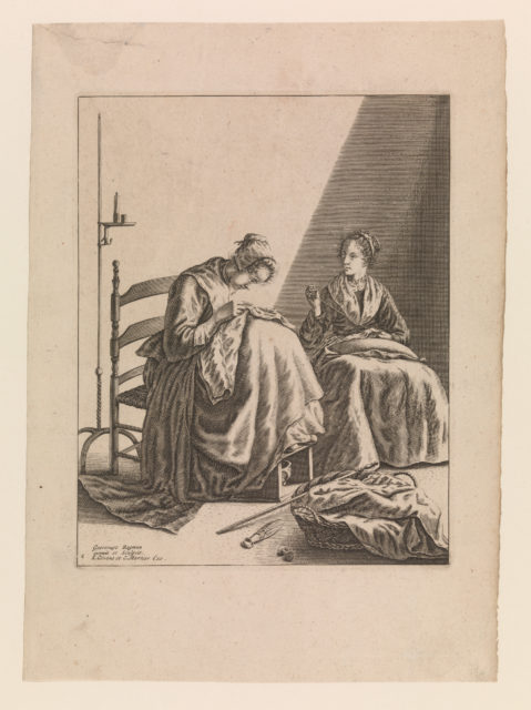 Two Women Sewing, Plate 1 from Five Feminine Occupations