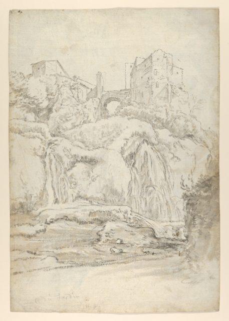 View of a Bridge and Waterfalls in Tivoli; verso: View of a Waterfall in Tivoli From Within a Cave