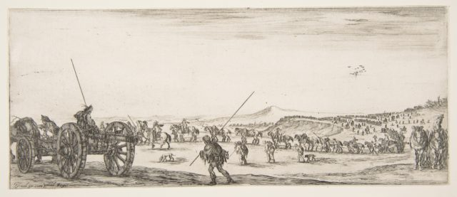 A procession of horsemen and cannons in the middle ground walking to the left, a cannon and two men to left, from 'Peace and War' (Divers desseins tant pour la paix que pour la guerre)
