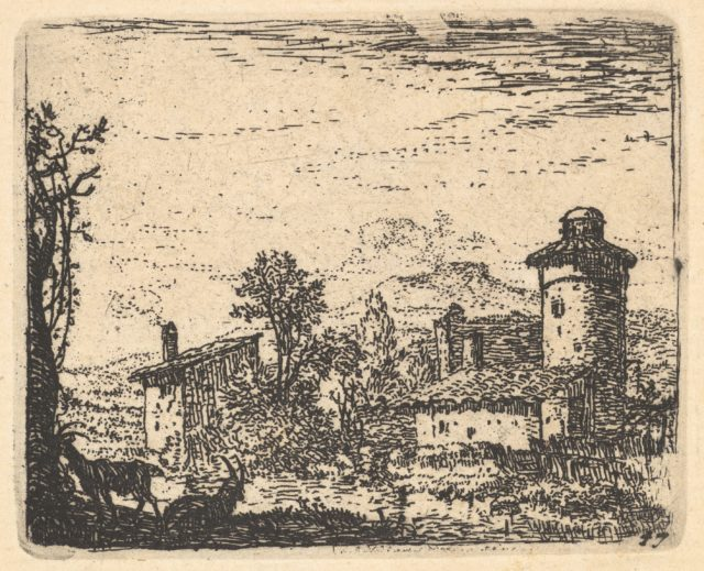 Landscape with two horned goats in shadow at left foreground, village buildings beyond, from the series 'The Small Landscapes'