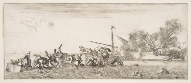 Naval battle, a rowboat filled with people fighting with muskets to left, people drowning in the sea in the center and right foreground, a ship on its side and burning in the background, from 'Peace and War' (Divers desseins tant pour la paix que pour la guerre)