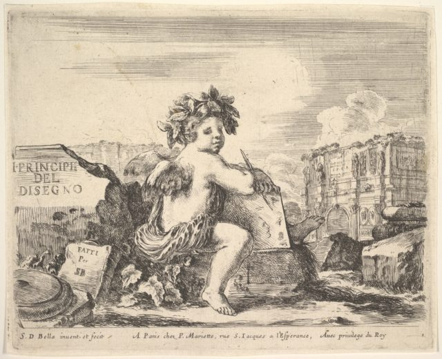 Plate 1: the genius of drawing, a child with wings, seated on a rock in center turned towards the right, holding a drawing pad and pen, ruins including a triumphal arch to right in the background, the title page from The Principles of Design (I principii del disegno)