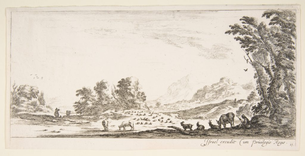 Plate 11: shepherdess seated to the right under a tree, watching her flock to the left, mountains to right in the background, from 'Various landscapes' (Divers paysages)