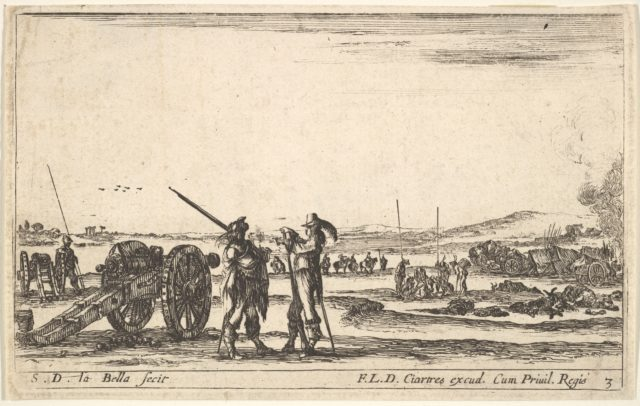 Plate 3: An officer giving orders to a solider in centre foreground, cannon at left,  from 'Various Military Caprices' (Varii capricci militari)