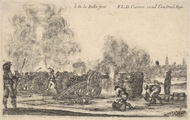 Plate 6: A battery of cannons firing on a town, from 'Various Military Caprices' (Varii capricci militari)