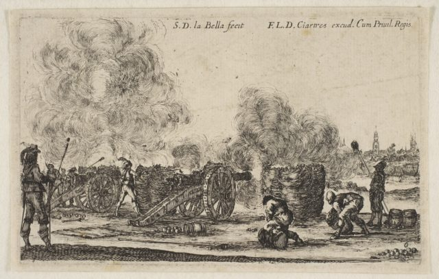 Plate 6: battery of cannons firing on a city, from 'Various Military Caprices' (Varii capricci militari)