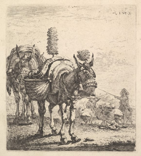 Two mules bearing panniers and outfitted with blinders, plumes, and tassels; one mule in three-quarter view and behind it a mule in frontal view; beyond a man mounted on a horse directs mules with a rod