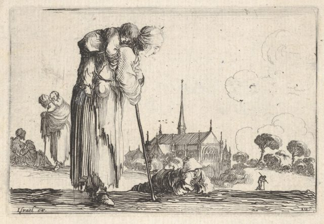 Plate 10: a peasant woman turned towards the right with a child on her back, a boy lying on the ground behind her in center, two women and a child to left in middleground, a church to right in background, from 'Caprice faict par de la Bella'