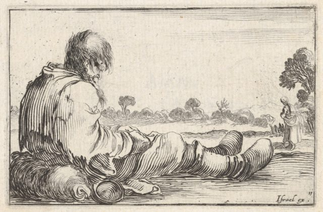 Plate 11: an old man sitting on the ground to left, seen from behind, a peasant woman seen from behind to right in backfround, from 'Caprice faict par de la Bella'