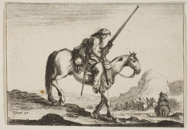 Plate 12: A soldier on horseback, holding a musket in his right hand, in profile descending a slope towards the right, other soldiers on horseback to right in the background, from 'Various Figures' (Agréable diversité de figures)