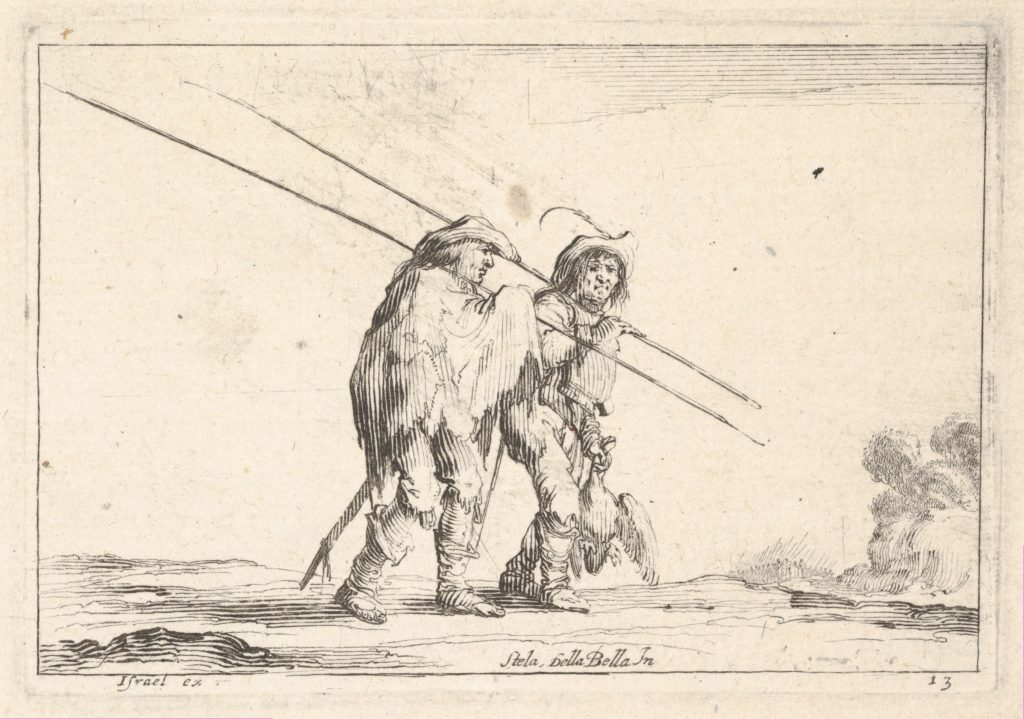 Plate 13: Two pikemen walking towards the right, each with their pikes in their right hands, from 'Various Figures' (Agréable diversité de figures)