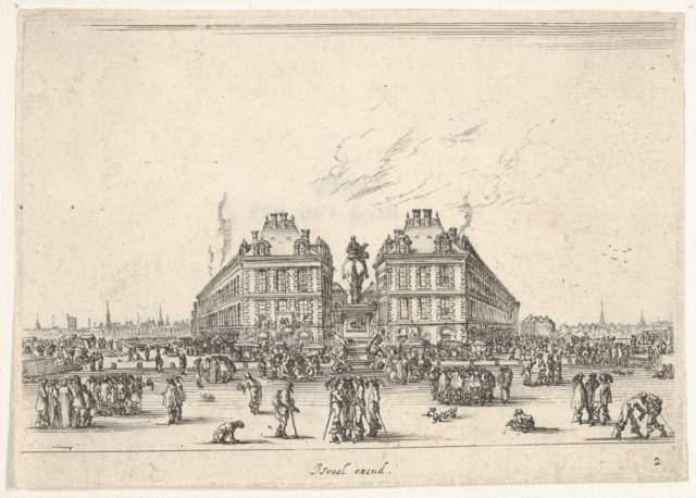 Plate 2: La Place Dauphine, on the coast of Pont Neuf, the equestrian statue of Louis XIII in center, seen from the back and numerous figures, from 'Various Figures' (Agréable diversité de figures)