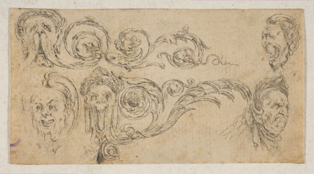 Plate 4: five grotesque heads, from 'Friezes, foliage, and grotesques' (Frises, feuillages et grotesques)