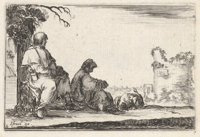 Plate 6: two seated pilgrims and one laying down to left, a tower in ruins to right in the background, from 'Caprice faict par de la Bella'