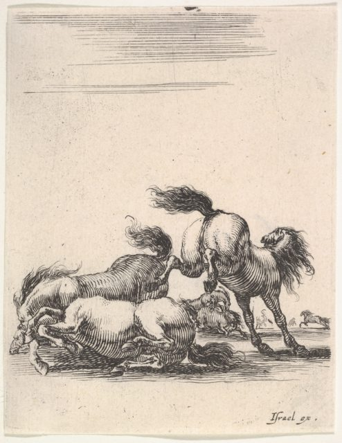 Several horses fighting, one horse to right kicking two horses on the ground below to left, other horses fighting in the background, from 'Various cavalry exercises' (Diverses exercices de cavalerie)