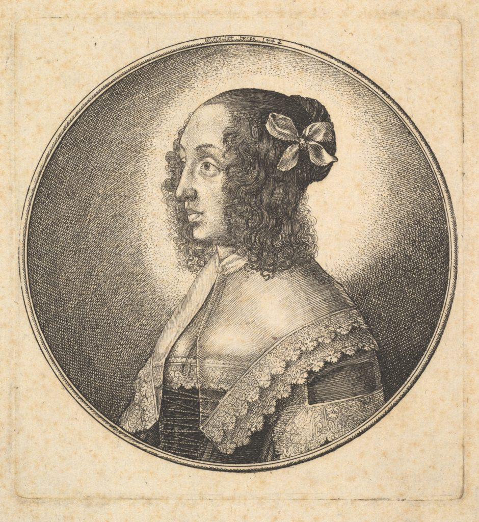 Woman with dark hair and a bow in profile to the left