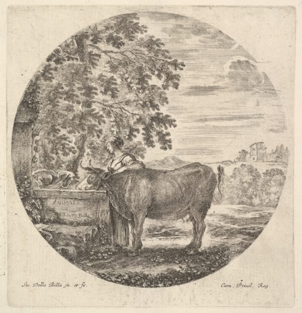 A cow in center drinking from a fountain adorned with the Medici coat of arms at left, accompanied by a shepherd standing behind, a round composition, from 'Six animal subjects' (Six sujets d'animaux)