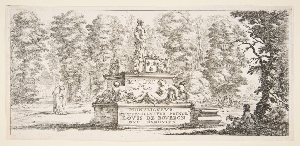 Plate 1: a monument with statues and a coat of arms in the center, a draughstman on the ground beneath a tree to right, two groups of lovers to left in the background, from 'Various landscapes' (Divers paysages)