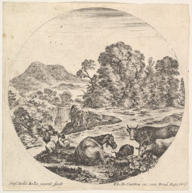 Plate 10: a horse lying down in center, a cow and two goats to right, two seated shepherds to left, a waterfall and a mountain to left in the background, a round composition, from 'Roman landscapes and ruins' (Paysages et ruines de Rome)