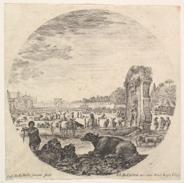 Plate 2: Campo Vaccino, a buffalo and two shepherds in center, the Fontanone to right in the middleground, various animals and people in the background, a round composition, from 'Roman landscapes and ruins' (Paysages et ruines de Rome)