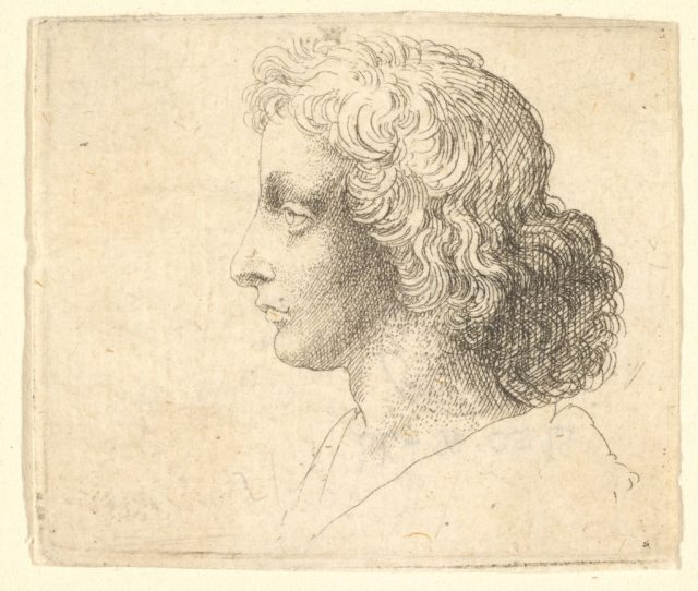 Head of young man with long hair in profile to the left